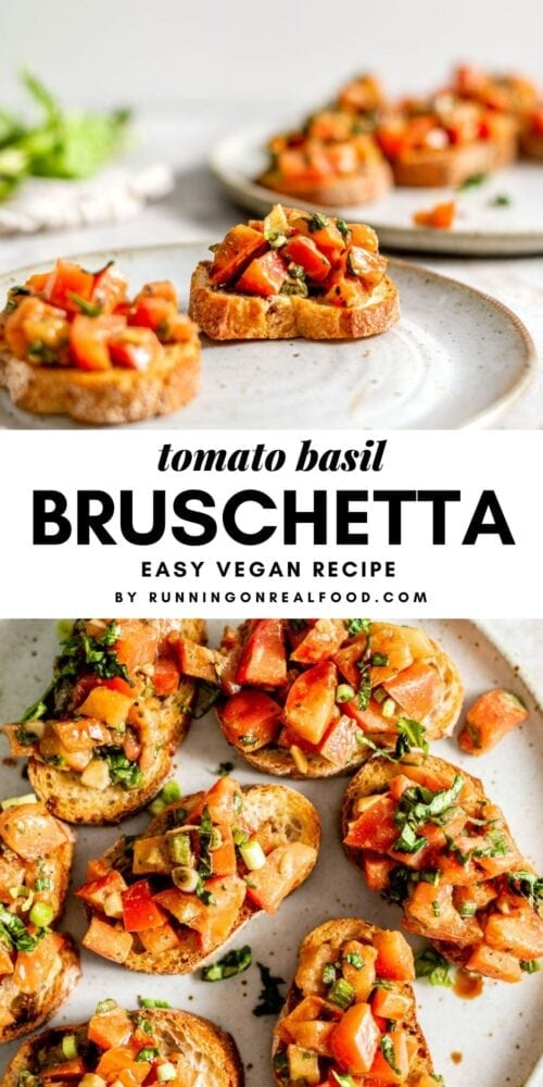 Pinterest graphic with an image and text for classic vegan bruschetta.