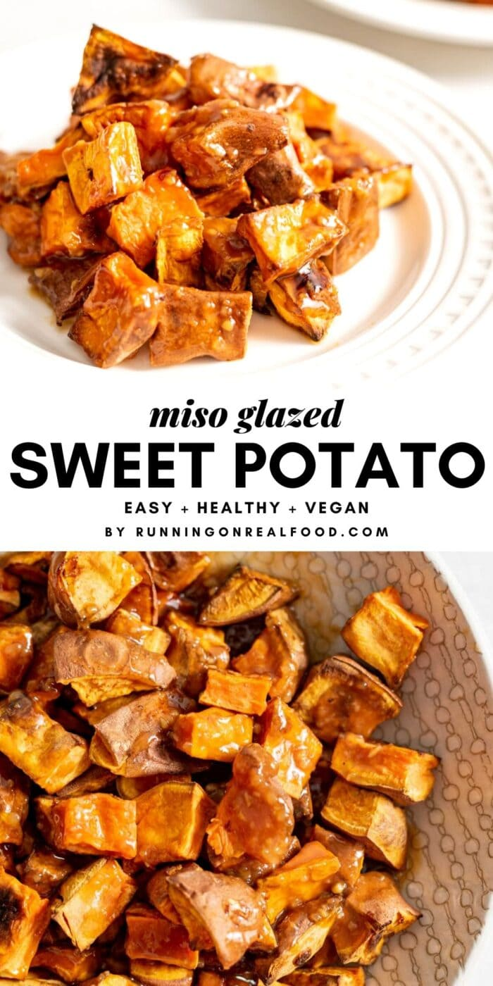 Pinterest graphic for miso glazed sweet potato with an image and a text overlay.