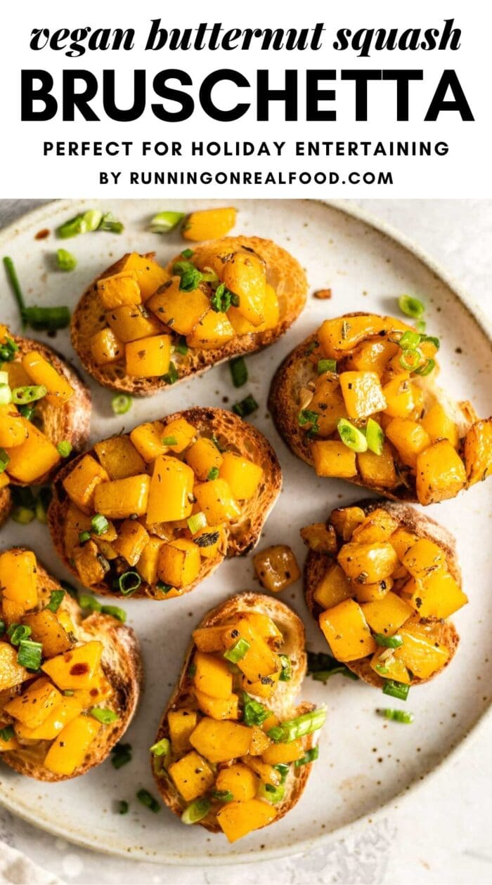 Pinterest graphic with an image and text for butternut squash bruschetta.