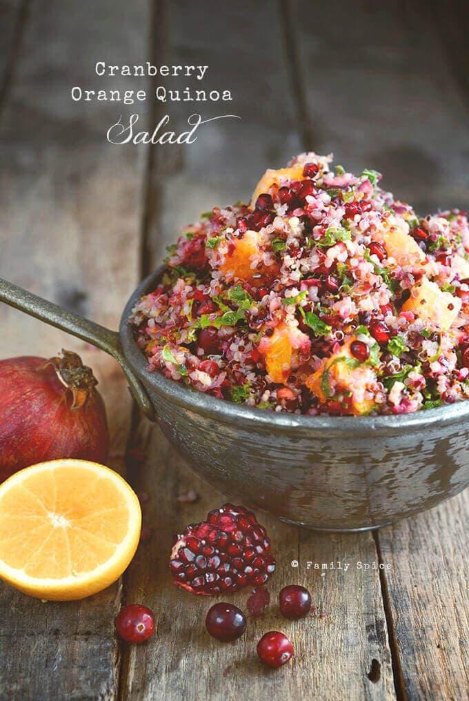 Cranberry Quinoa Salad with Orange, Mint and Kale