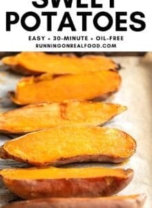 Pinterest graphic with an image and text for oven-baked sweet potatoes.
