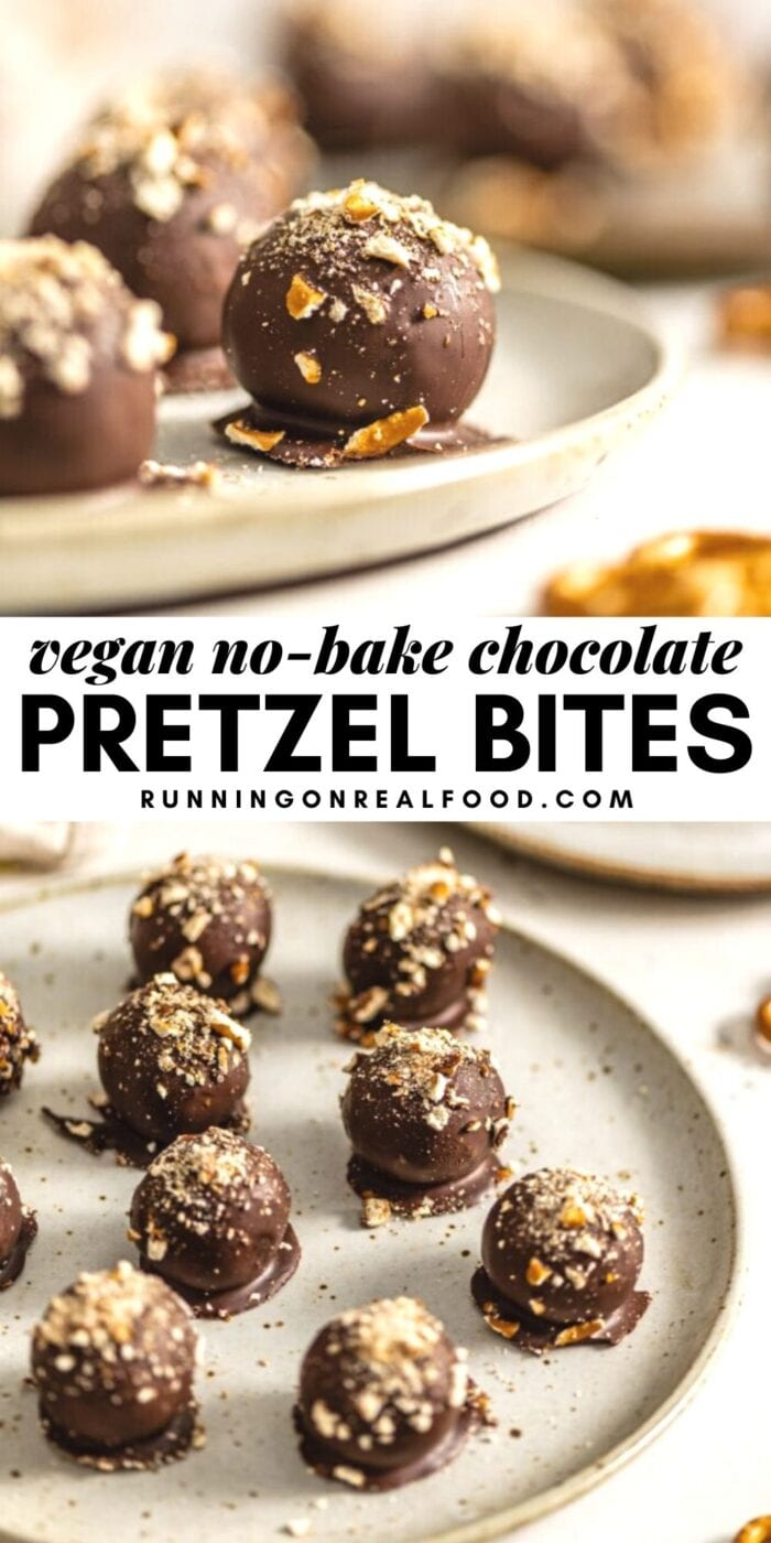 Pinterest graphic with an image and text for chocolate pretzel balls.