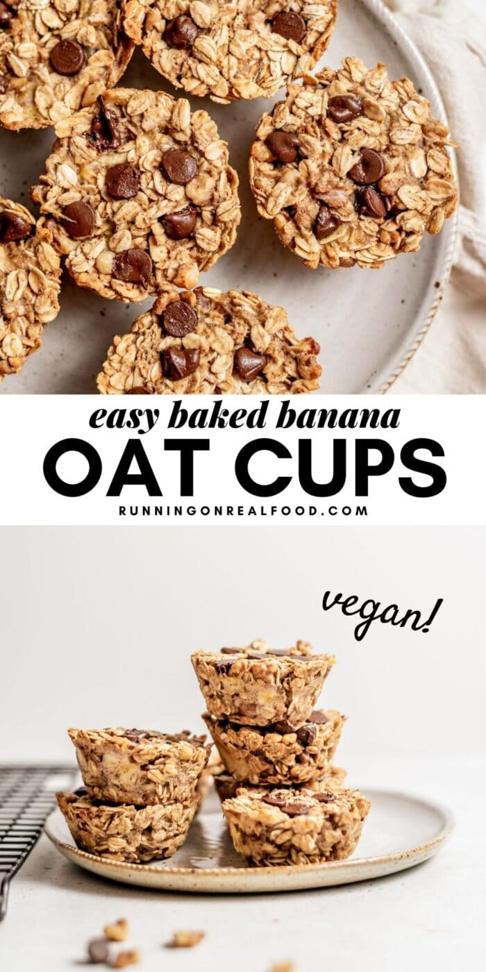 Pinterest graphic with an image and text for baked oatmeal cups.