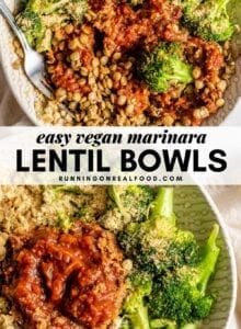 Pinterest graphic with an image and text for lentil bowls.