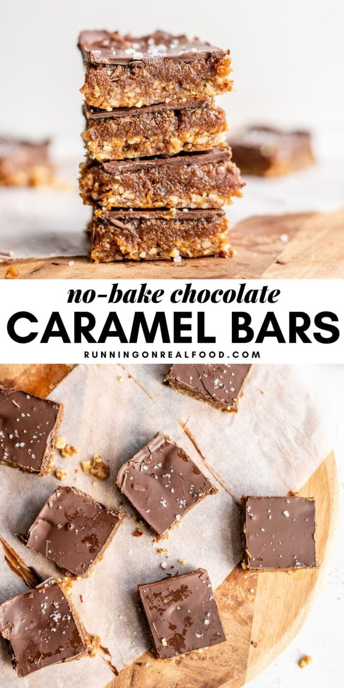 Pinterest graphic with an image and text for no-bake chocolate caramel bars.