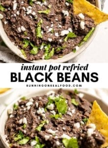 Pinterest graphic with an image and text for Instant Pot Refried Black Beans.