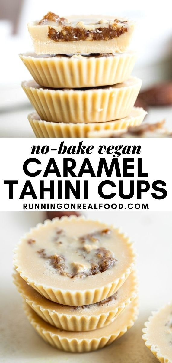 Pinterest graphic with an image and text for date tahini cups.
