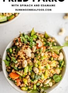 Pinterest graphic with an image and text for farro fried rice.