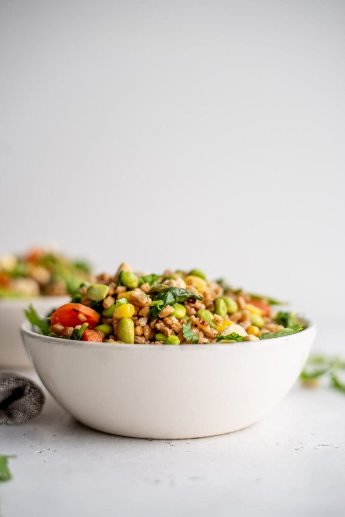 A bowl of fried farro with vegetables sitting on a countertop.