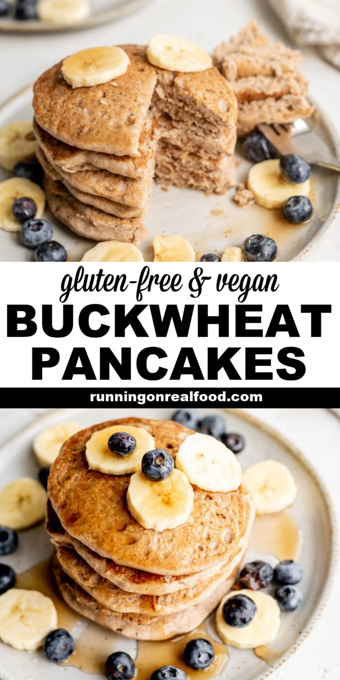 Pinterest graphic with an image and text for buckwheat pancakes.