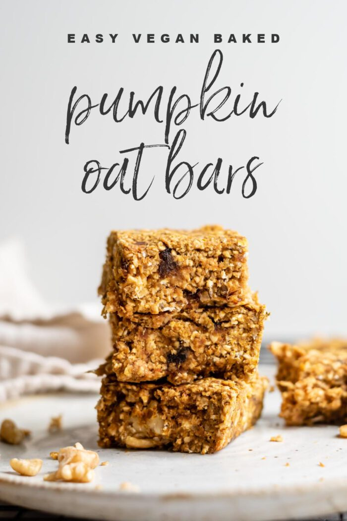 Pinterest graphic with an image and text for pumpkin oatmeal bars.