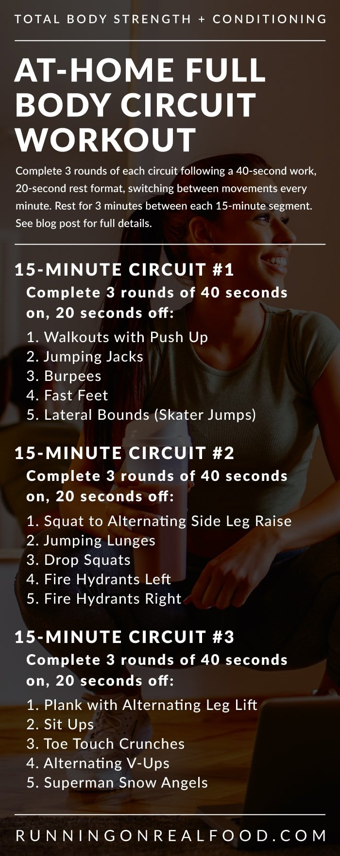 Workout details for an at-home circuit training workout.