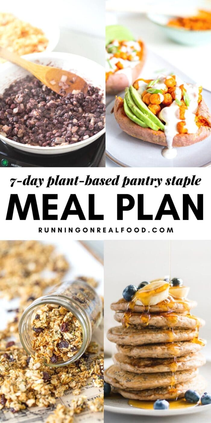 Pinterest graphic with an image and text for a 7-day pantry staple meal plan.
