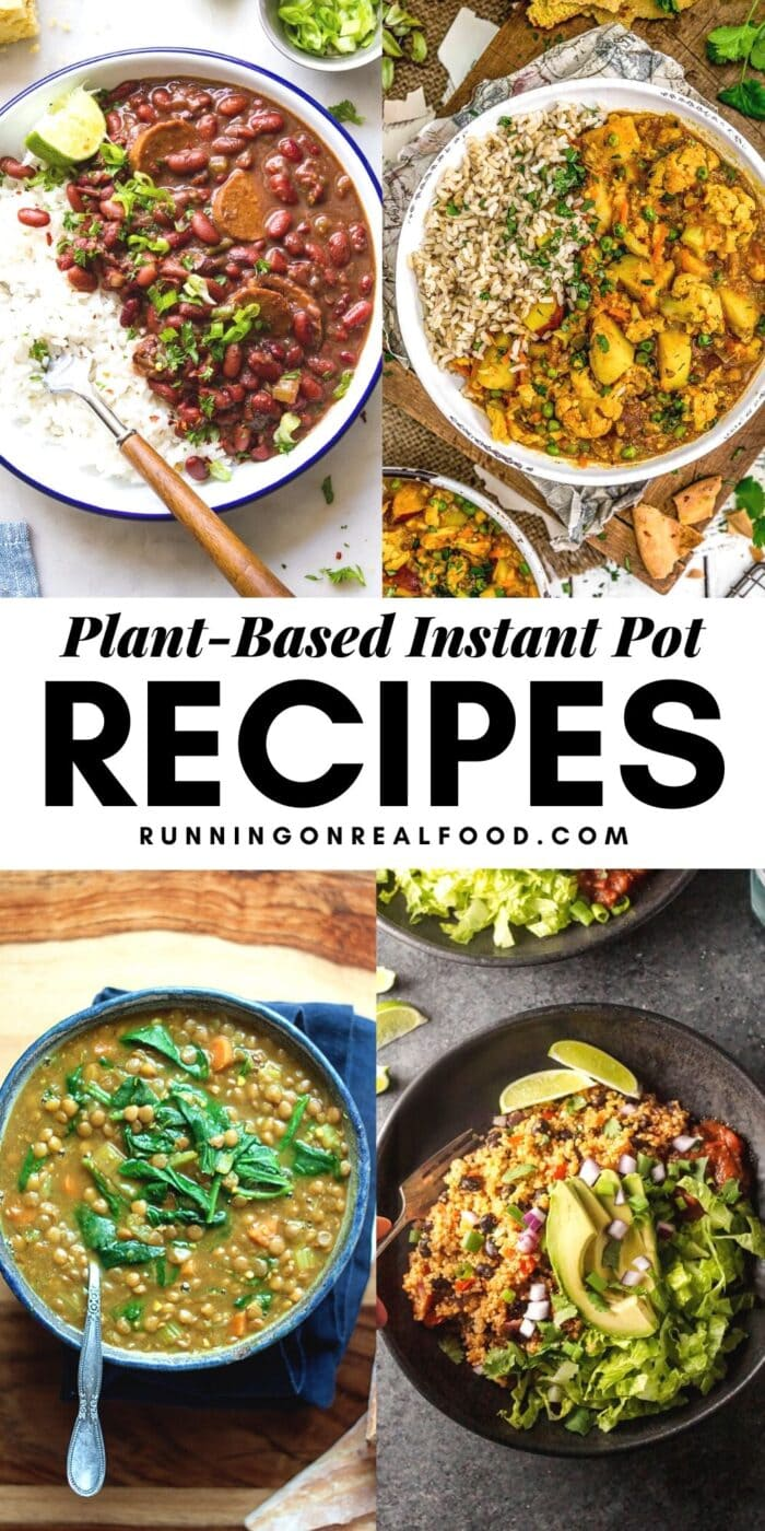 Pinterest graphic with an images and text for Plant-Based Instant Pot Recipes.