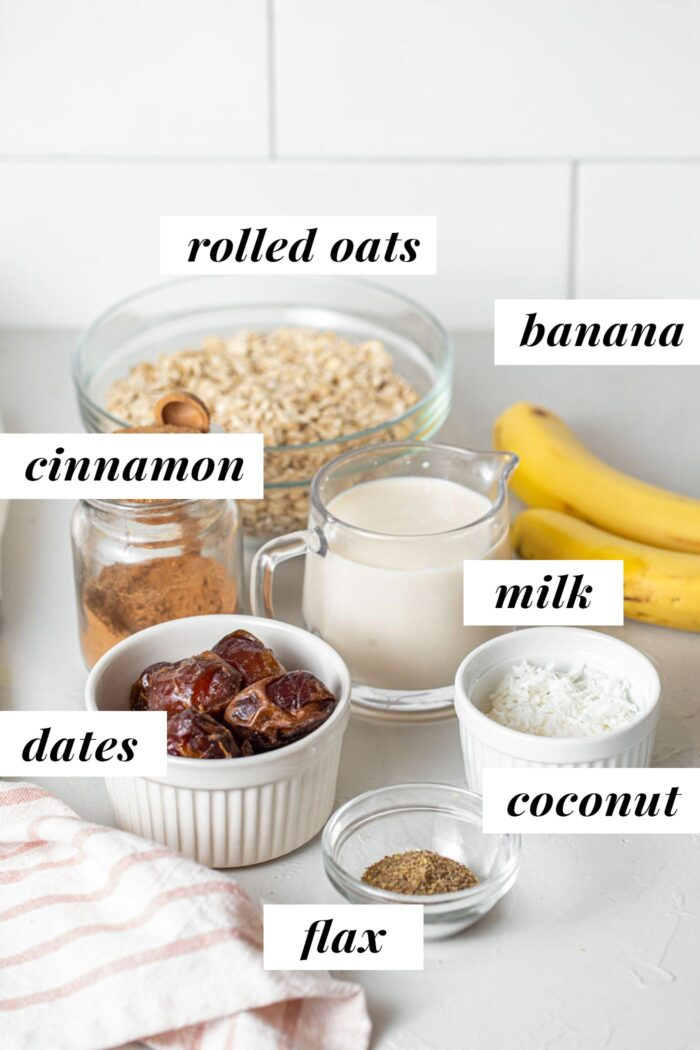 Labelled ingredients for making banana oat bars.