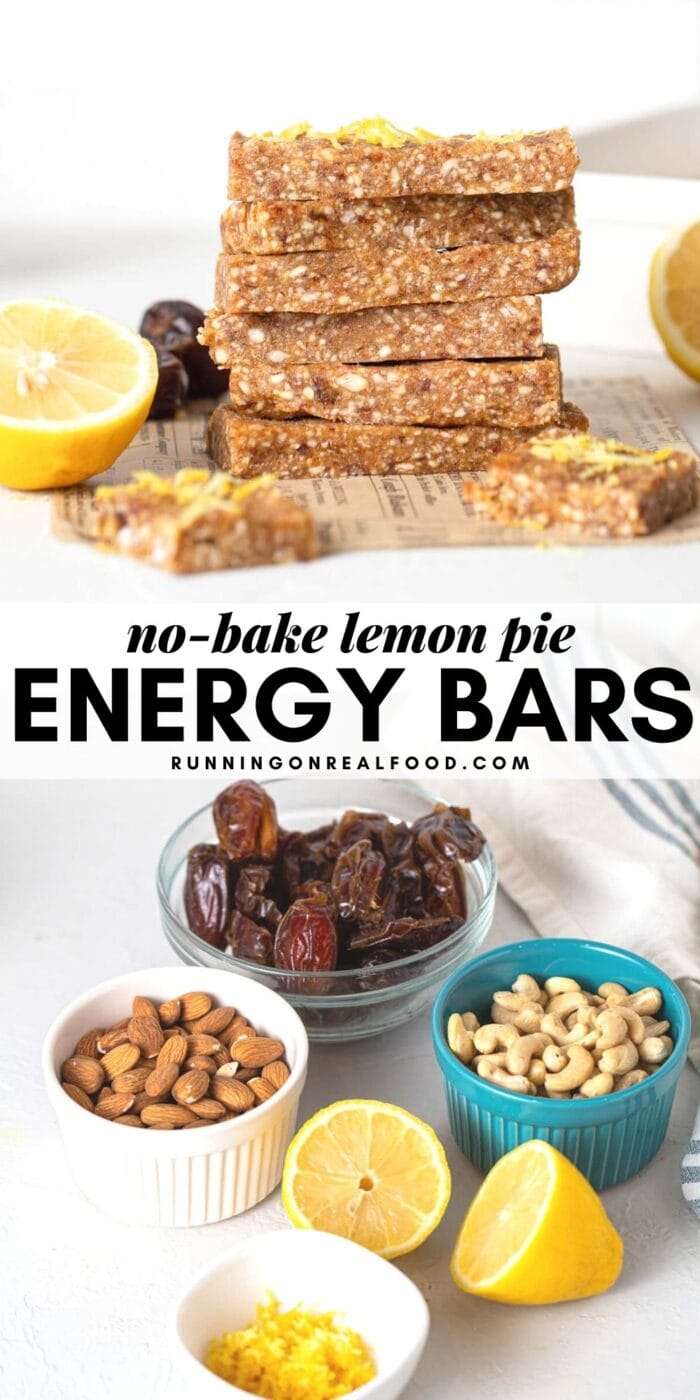 Pinterest graphic with an image and text lemon pie energy bars.