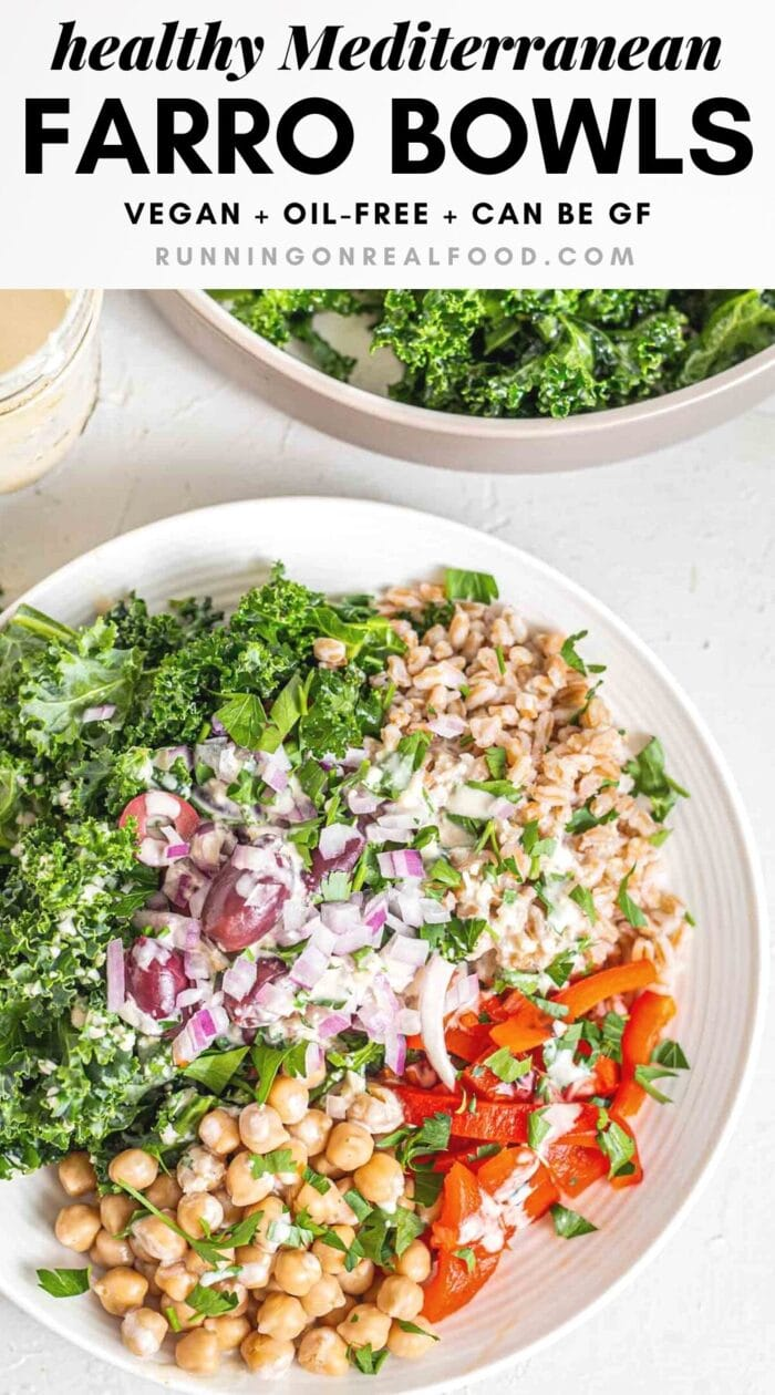 Pinterest graphic with an image and text for farro salad bowls.