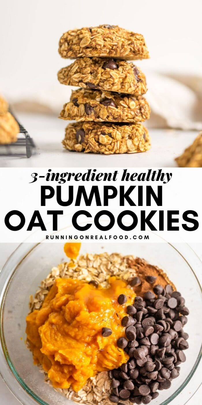 Pinterest graphic with an image and text for pumpkin oatmeal cookies.