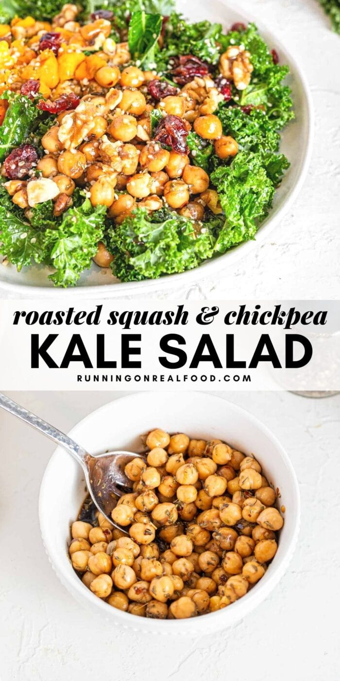 Pinterest graphic with an image and text for a marinated chickpea kale salad.