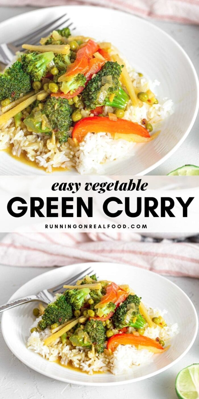 Pinterest graphic with an image and text for a Thai green curry with vegetables.
