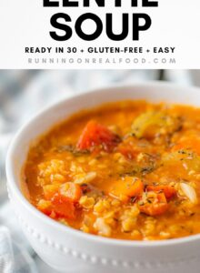 Pinterest graphic with an image and text for a red lentil tomato soup.