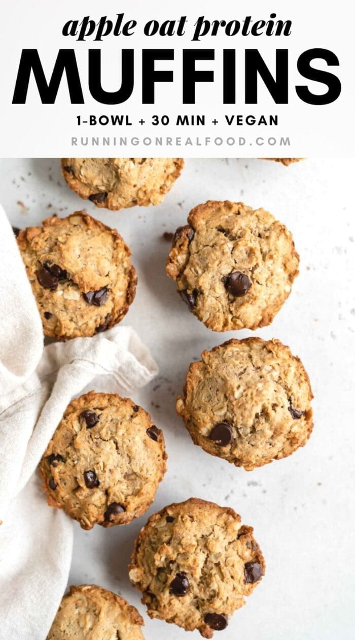Pinterest graphic with an image and text for apple oat protein muffins.