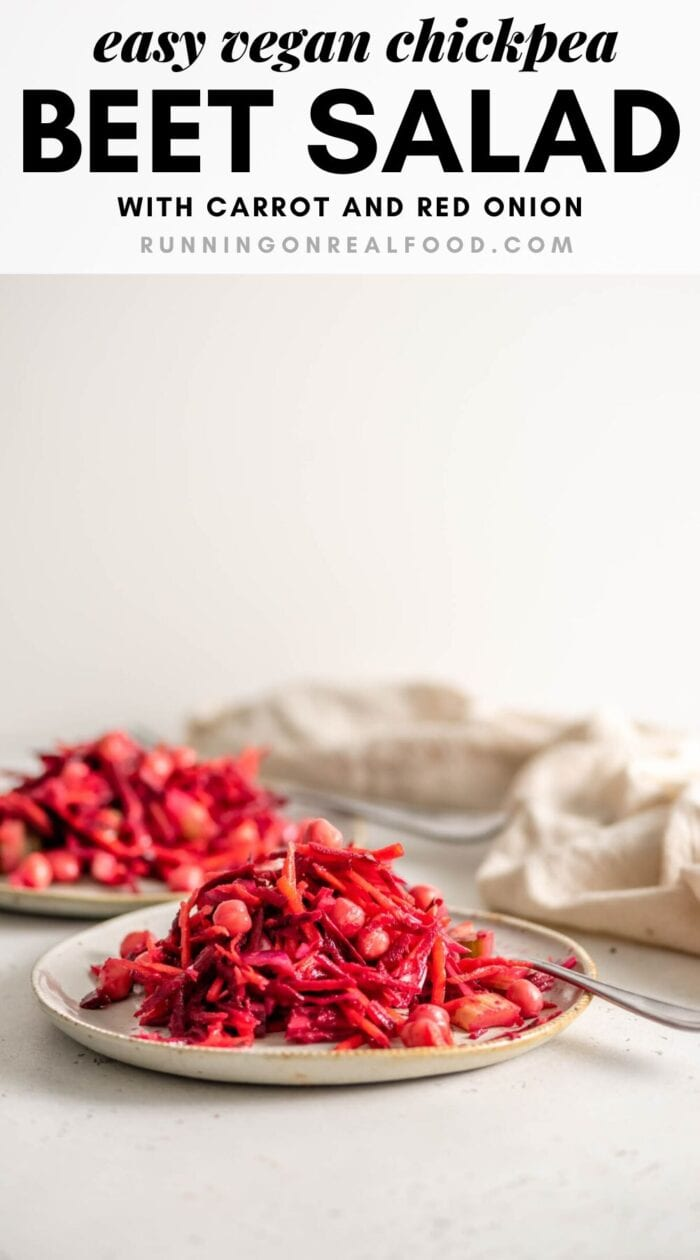 Pinterest graphic with an image and text for a raw beet chickpea salad.
