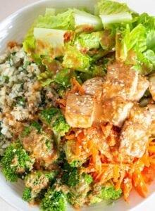 A bowl with carrot, tofu, broccoli, cauliflower rice, tofu and peanut sauce.