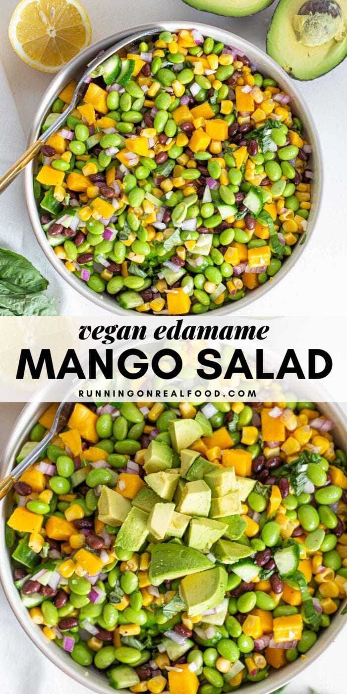 Pinterest graphic with an image and text for mango edamame salad.