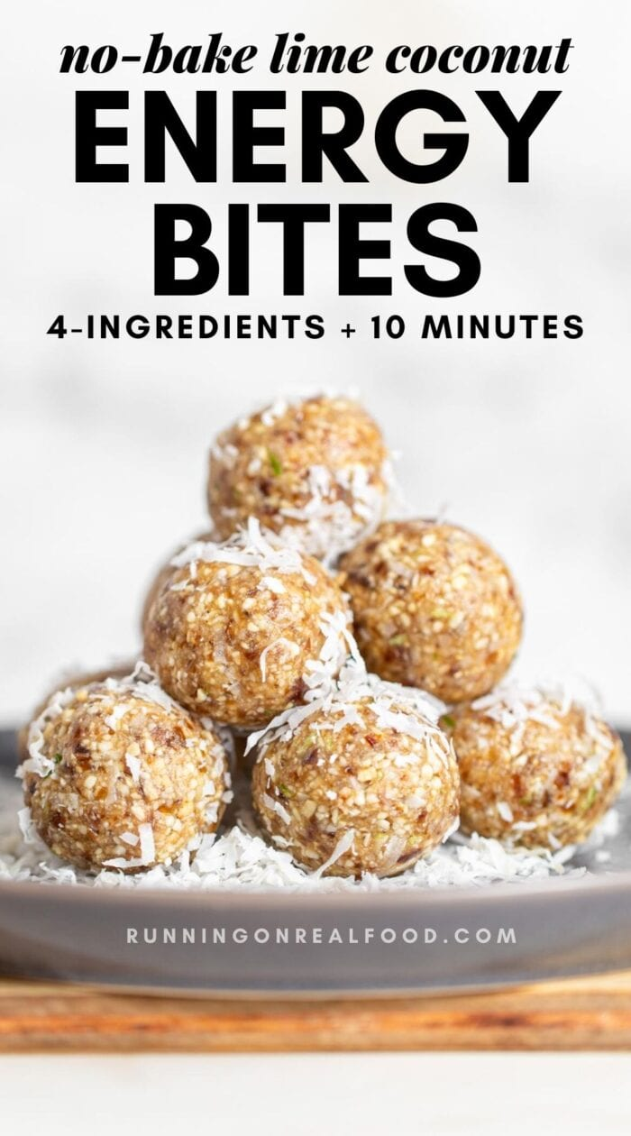 Pinterest graphic with an image and text for lime and coconut balls.