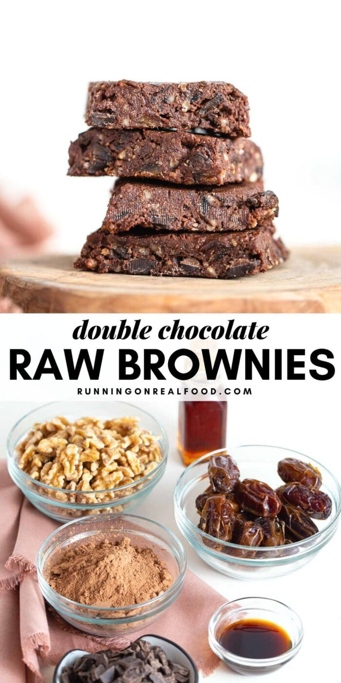 Pinterest graphic with an image and text for no-bake vegan brownies.
