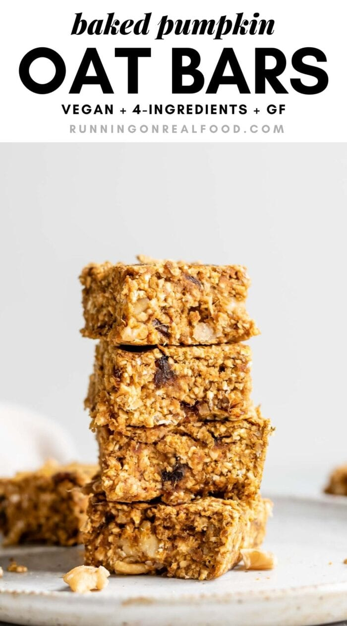 Pinterest graphic with an image and text for baked pumpkin oatmeal bars.