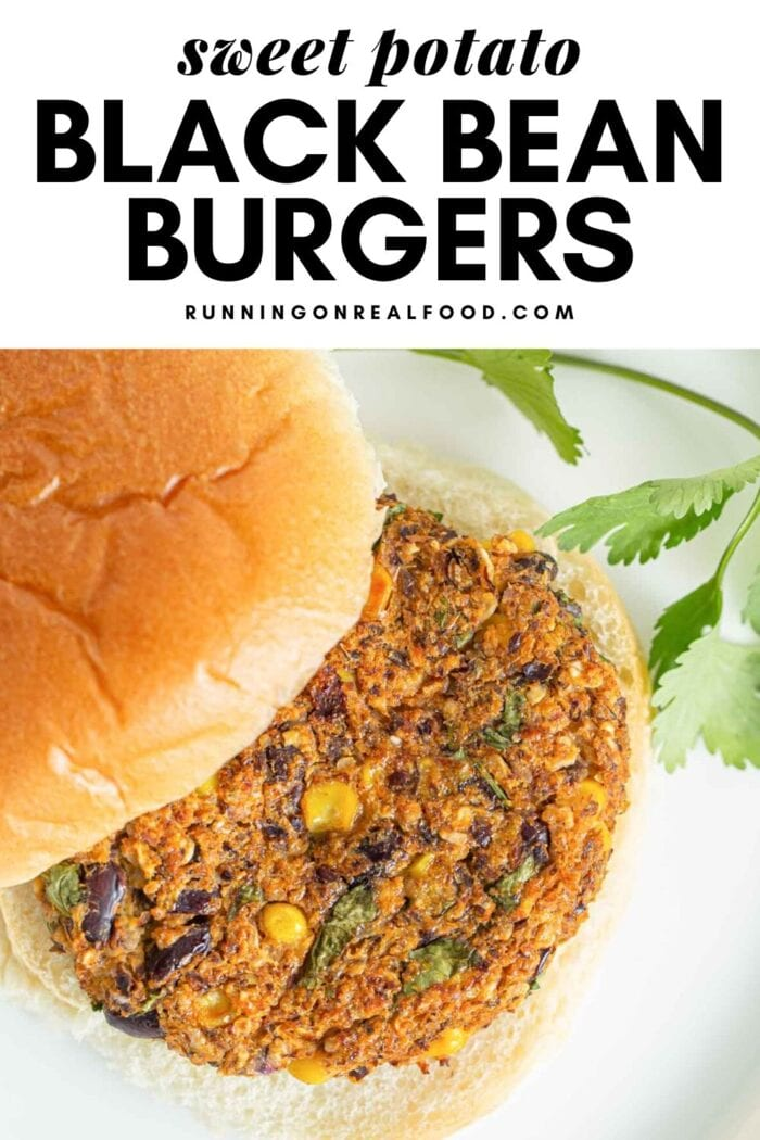 Pinterest graphic with an image and text for sweet potato black bean burgers.