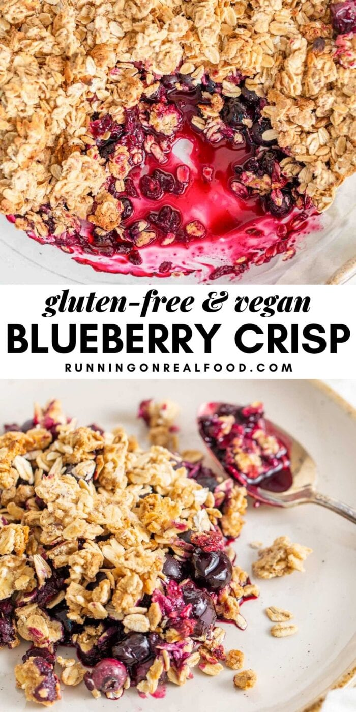 Pinterest graphic with an image and text for vegan blueberry crisp.