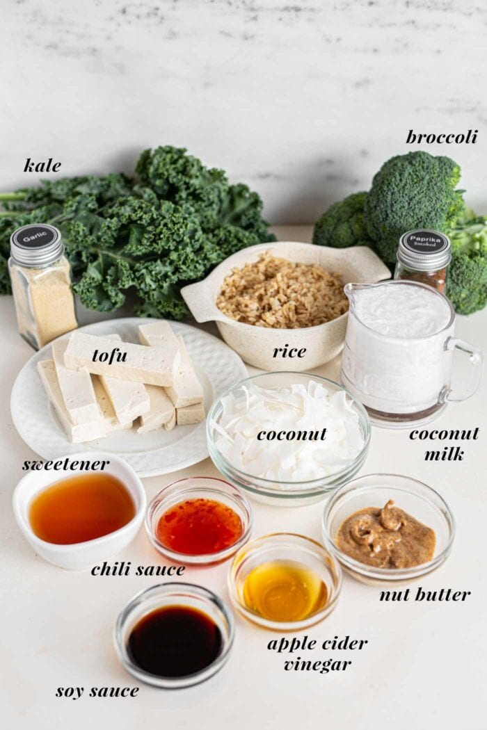 Kale, broccoli, rice, coconut milk and various sauces in bowls on a countertop.