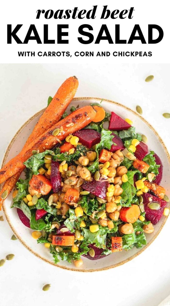 Pinterest graphic with an image and text for roasted beet kale salad.