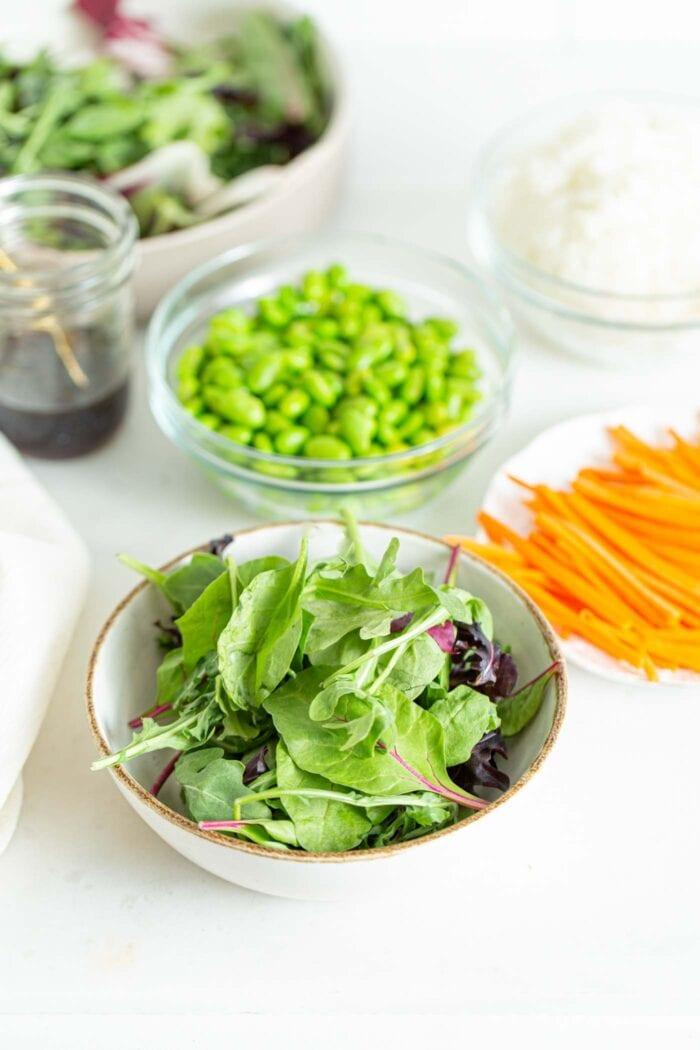 Field greens in a bowl.