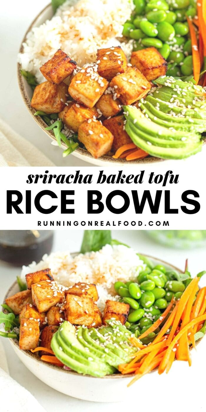 Pinterest graphic with an image and text for sriracha baked tofu rice bowls.