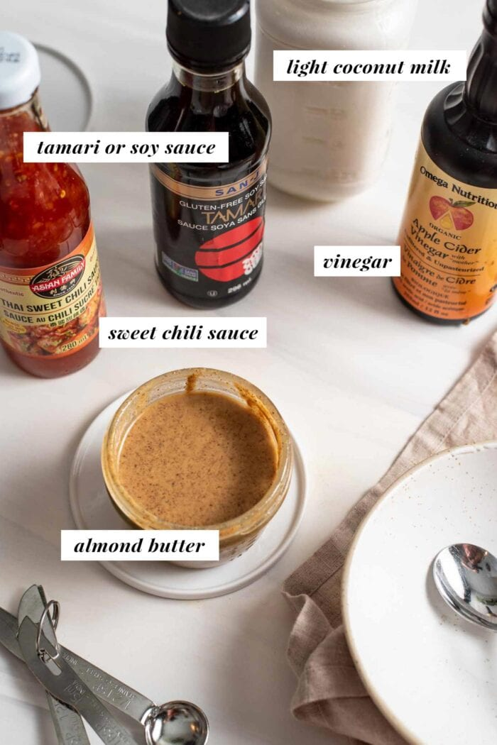 Labelled ingredients for an Asian almond satay sauce.