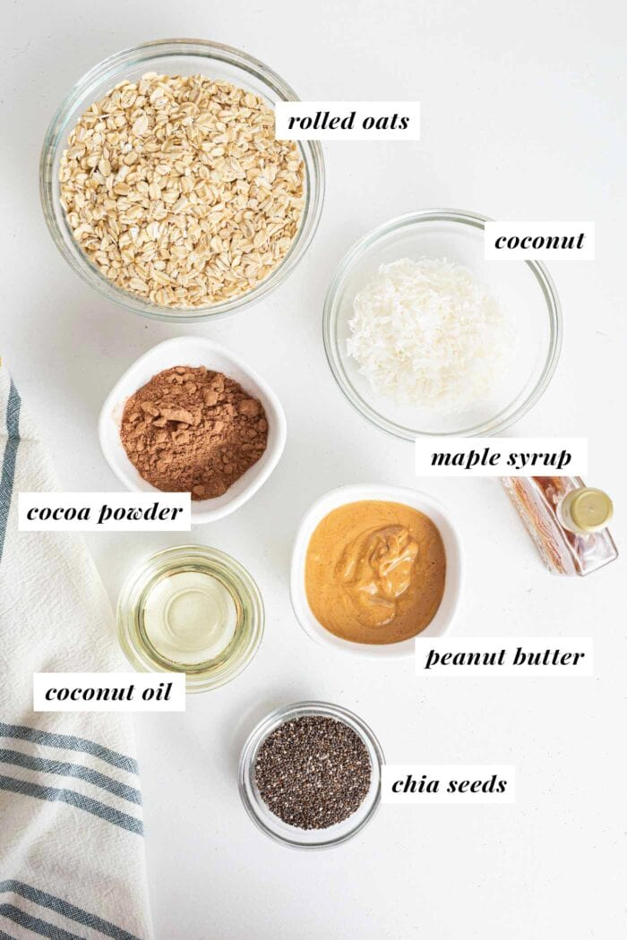 Oats, coconut, chia seeds, peanut butter and cocoa powder in small bowls.