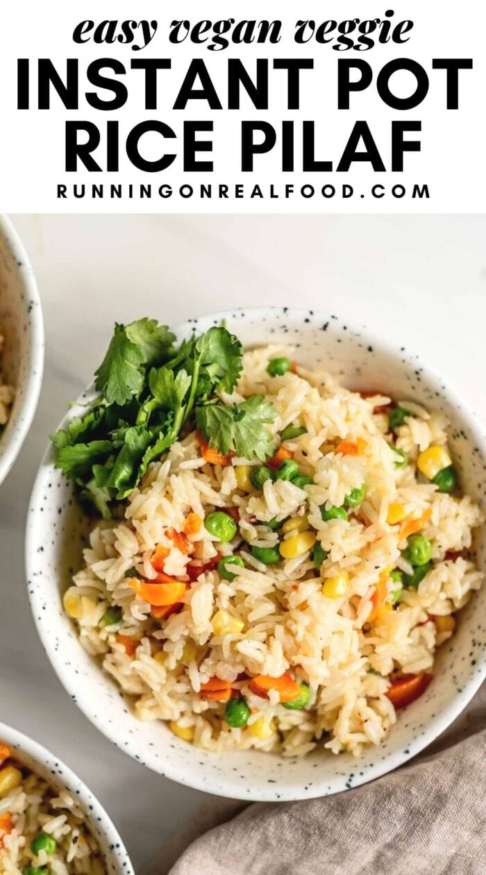 Pinterest graphic with an image and text for an Instant Pot Rice Pilaf.
