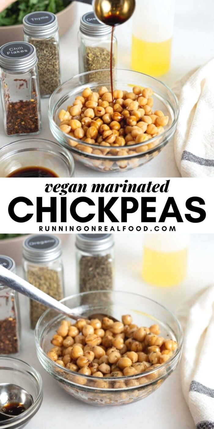 Pinterest graphic with an image and text for marinated chickpeas.