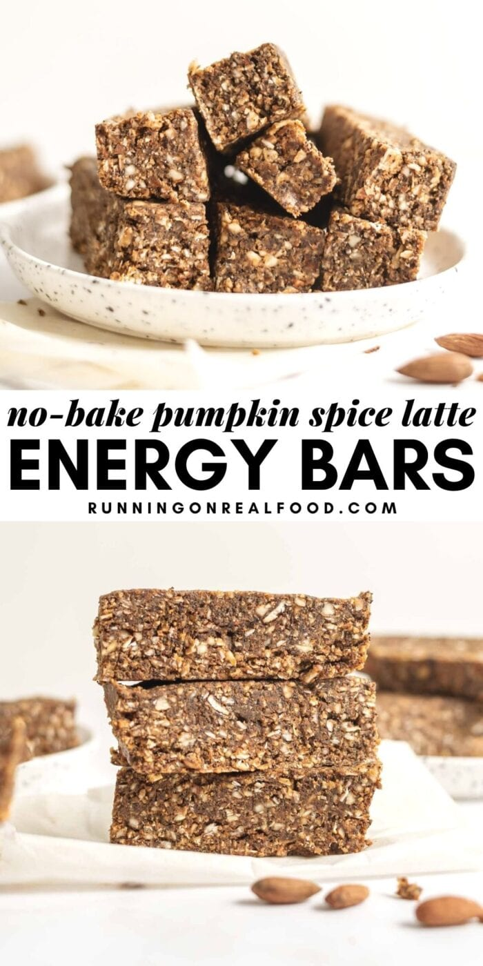 Pinterest graphic with an image and text for pumpkin spice latte energy bars.