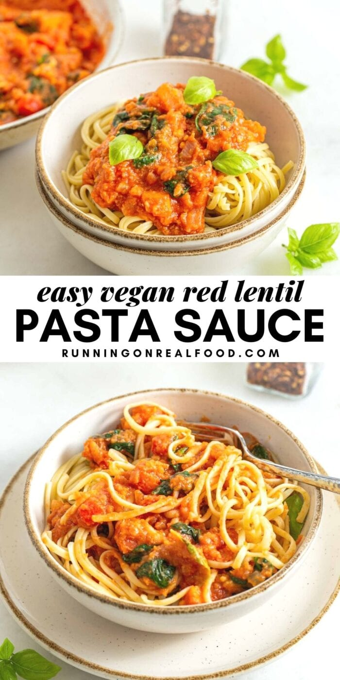 Pinterest graphic with an image and text for red lentil pasta sauce.