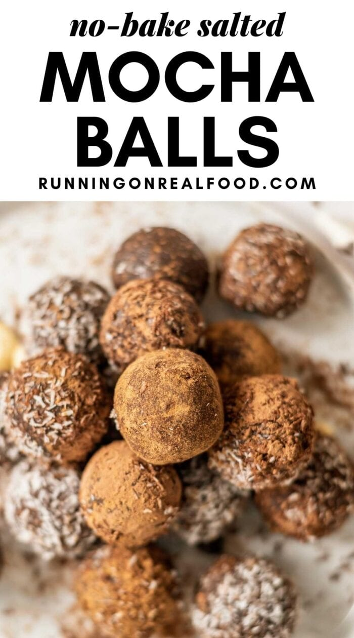 Pinterest graphic with an image and text for no-bake mocha balls.