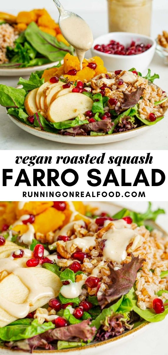 Pinterest graphic with an image and text for roasted squash farro salad.
