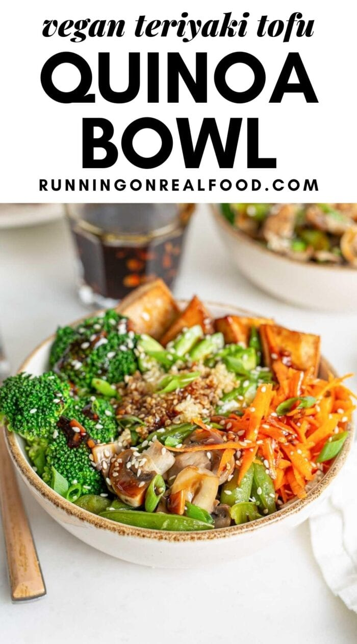 Pinterest graphic with an image and text for teriyaki tofu quinoa bowl.
