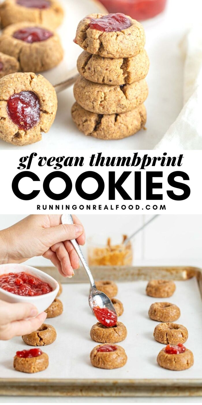 Pinterest graphic with an image and text for vegan thumbprint cookies.