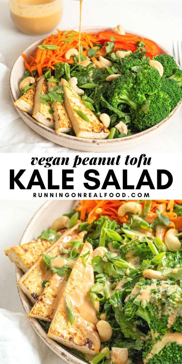 Pinterest graphic with an image and text for tofu kale salad.
