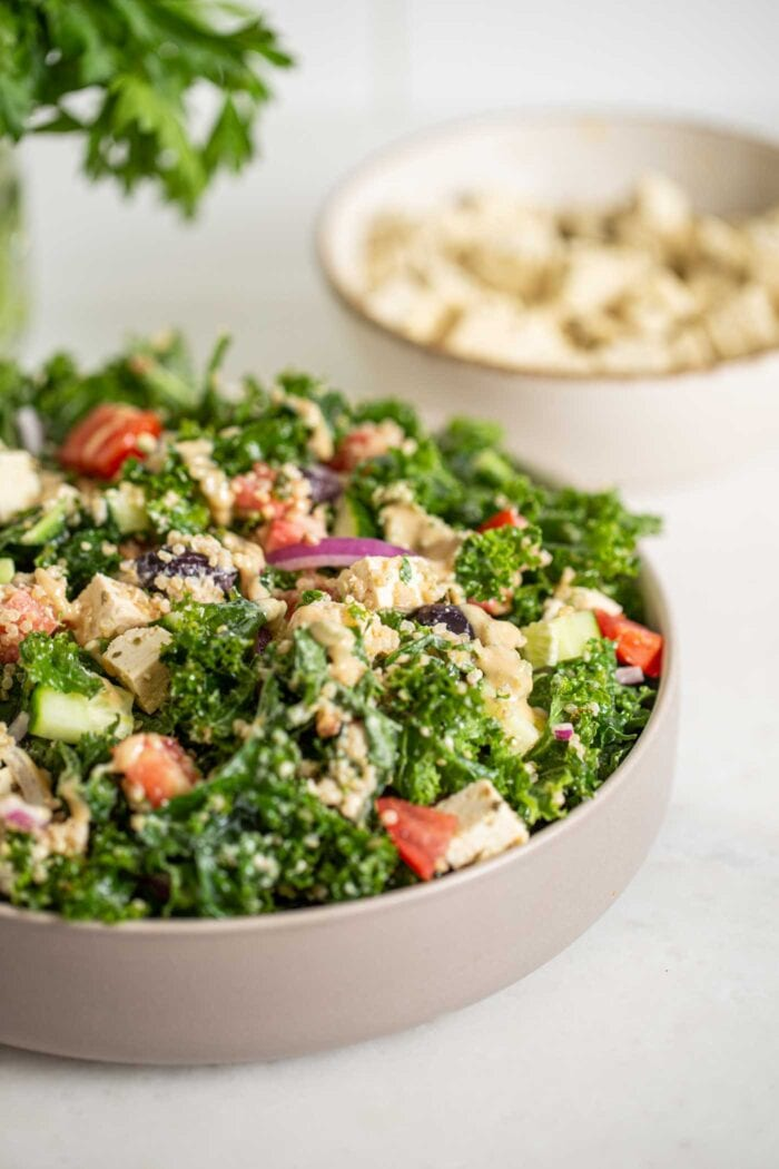 Bowl of kale salad with quinoa, tofu, tomato, cucumber and red onion. Tofu in background.